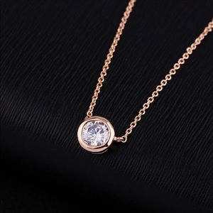 Solitaire Pendant CZ Necklace For Minimalists